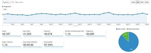 Pageviews for Aug case study site